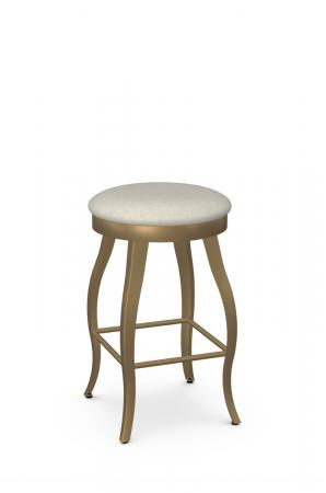 Amisco's Pearl Modern Gold Swivel Backless Bar Stool with Cabriole Legs and Round Seat Cushion