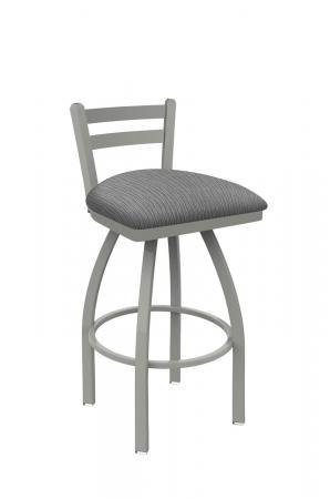 Holland's Jackie Swivel Stool with Low Back in Anodized Nickel and Graph Alpine Gray Seat Cushion