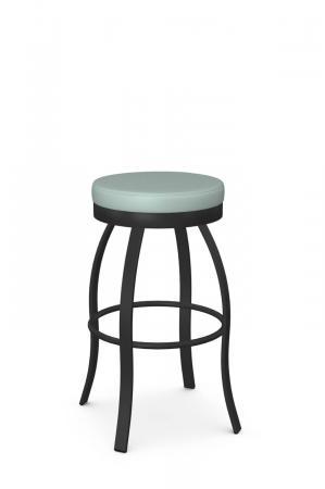 Amisco's Swan Black Backless Swivel Metal Bar Stool with Seafoam Green Seat Cushion