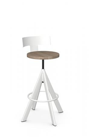 Amisco's Uplift Industrial White Screw Bar Stool in Natural Wood Seat Finish