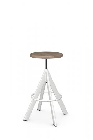 Amisco's Uplift Backless Industrial White Bar Stool with Natural Wood Round Seat