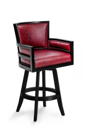 Darafeev's Metra Modern Luxury Bar Stool in Black Wood and Red Leather with Arms