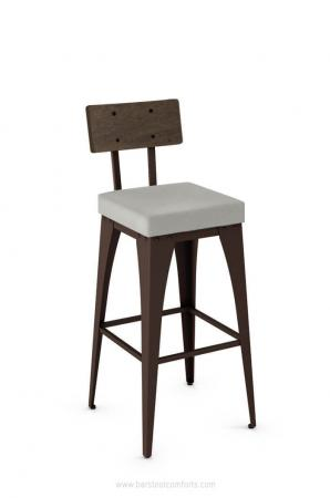 Amisco's Upright Modern Barstool with Wood Back, Square Seat Cushion, and Brown Metal Finish