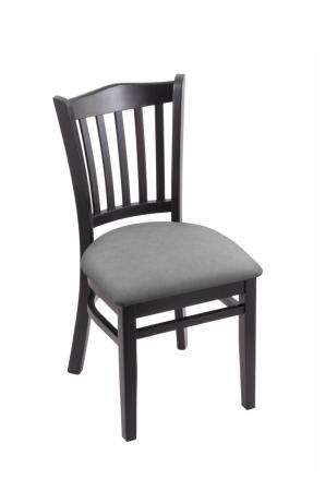 Holland's 3120 Black Wood Dining Chair in Canter Folkstone Grey Vinyl