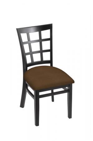 Holland's 3130 Hampton Black Wood Dining Chair in Rein Thatch Seat Cushion