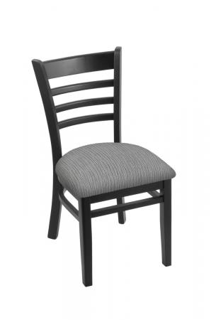 Holland's 3140 Hampton Black Dining Chair with Graph Alpine Fabric Seat Cushion
