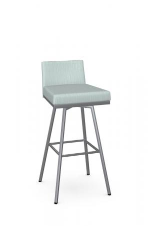 Amisco's Linea Modern Silver Bar Stool in Green Seat and Back Cushion in Low Back