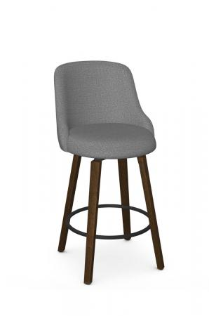 Amisco's Diaz Wood Swivel Upholstered Bar Stool with Back in Brown and Gray