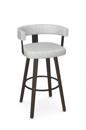 Amisco's Fletcher Modern Wood Upholstered Swivel Bar Stool with Curved Back in White and Brown