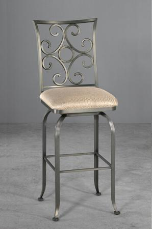 Wesley Allen's Glen Swivel Stool with Elegant Scroll Back Design