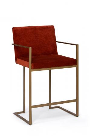 Wesley Allen's Marzan Modern Gold and Red Barstool Sled Base with Arms