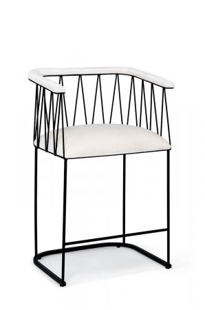 Wesley Allen's Ludwig Modern Unique Bar Stool with Arms, Padded Seat, and in Black Metal with White Seat Cushion