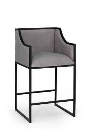 Wesley Allen's Mila Upholstered Metal Framed Bar Stool with Back and Arms