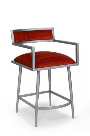 Wesley Allen's Zara Mid-Century Modern Bar Stool with Arms in Silver Metal and Red Seat/Back Cushion