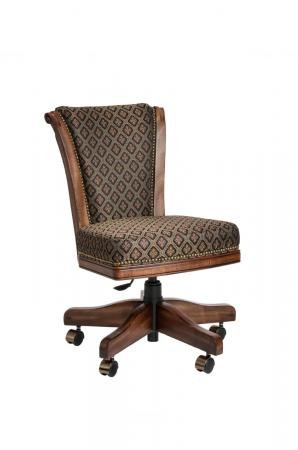 Darafeev's Classic Flexback Upholstered Maple Wood Game Chair with Nailhead Trim