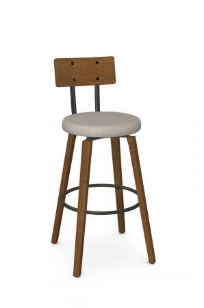 Amisco's Esteban Modern Wood Swivel Bar Stool with Hammered Wood Back and Seat Cushion