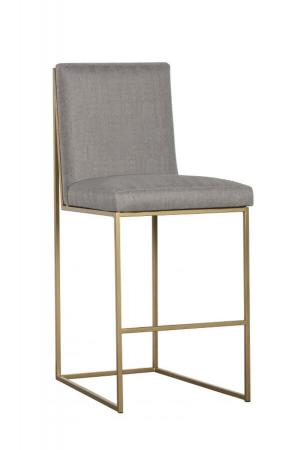Fairfield's Ian Modern Gold/Bright Brass Bar Stool with Sled Base and Seat/Back Cushion in Tan