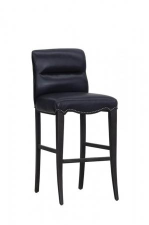 Fairfield's Magnolia Transitional Black Wood Bar Stool with Navy Blue Seat Back Cushion and Nailhead Trim