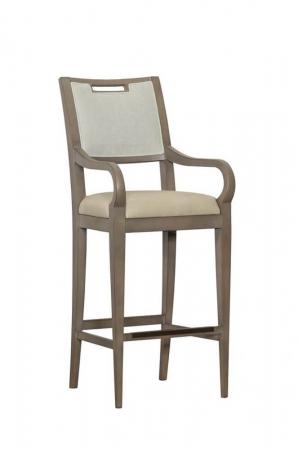 Fairfield's Reece Wood Bar Stool with Arms - Upholstered Back and Seat