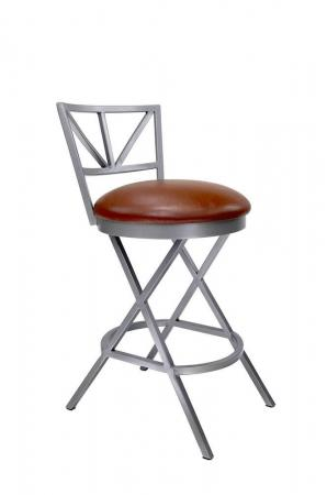 Wesley Allen's Gwen Modern Non-Swivel Bar Stool with Back and Seat Cushion