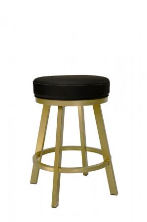 Wesley Allen's Miramar Gold Backless Swivel Bar Stool with Black Seat Cushion
