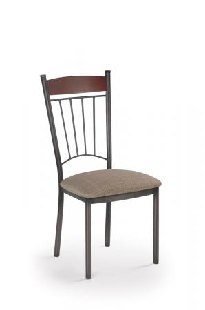Trica's Allan Dining Chair with Wood Back, Vertical Metal Slats on Back and Seat Cushion