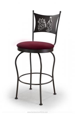 Trica's Art Collection 1 Armless Swivel Counter Stool in Black Metal Finish, Red Seat Cushion and Wine Glass, Wine Bottle and Grapes Cut-Out on Backrest
