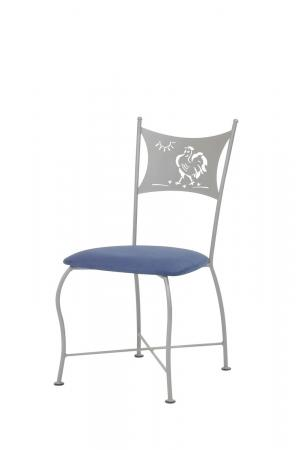 Trica's Art Collection Dining Chair with Rooster Design on Back, Silver Metal, and Blue Seat Cushion