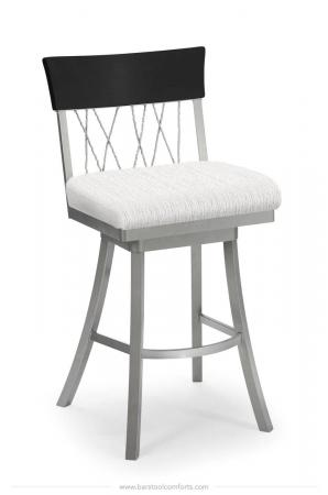 Trica's Bambusa Silver Modern Swivel Bar Stool with White Seat Cushion and Black Wood Back