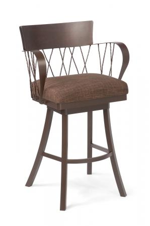 Trica's Bambusa 2 Brown Swivel Bar Stool with Arms, Wood Trim on Back, Cross Back Design, Wide Seat Cushion and Metal Frame