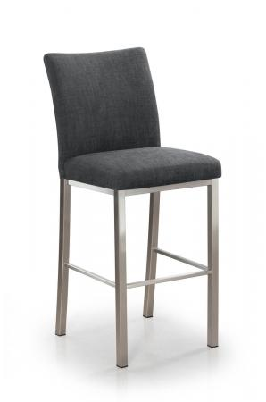 Trica's Biscaro Modern Bar Stool in Brushed Steel and Charcoal Seat and Back Cushion