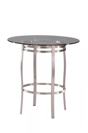 Trica's Bourbon Counter Height Table in Brushed Steel Metal and Round Glass Top