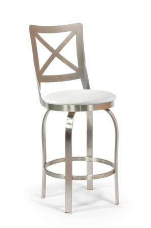Trica's Chateau Modern Swivel Brushed Steel Bar Stool with Cross Back Design and White Seat Cushion