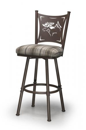 Trica's Creation Collection Swivel Bar Stool in Golden Brown Metal Finish, Plaid Seat Cushion and Elk Cut-Out on Back