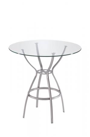 Trica's Rome Counter Height Table in Silver Metal and Round Glass