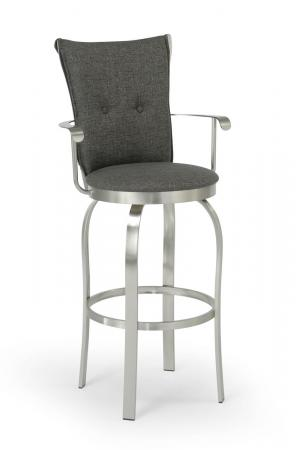 Trica's Tuscany 2 Swivel Bar Stool with Arms and Upholstered Seat and Back with Button Tufted - in Brushed Steel