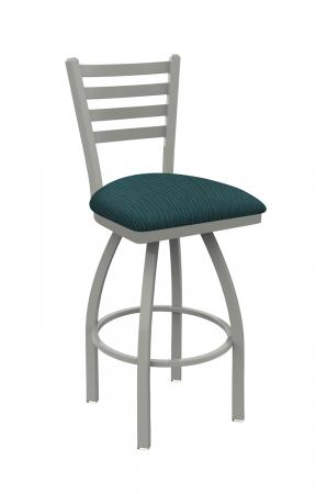 Holland's Jackie #410 Swivel Bar Stool with Back in Anodized Nickel Metal Finish and Teal Seat Cushion