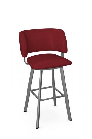 Amisco's Easton Silver Metal Bar Stool with Red Seat and Back Cushion