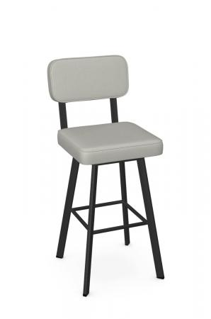 Amisco's Brixton Black Metal Bar Stool with Seat and Back Cushion