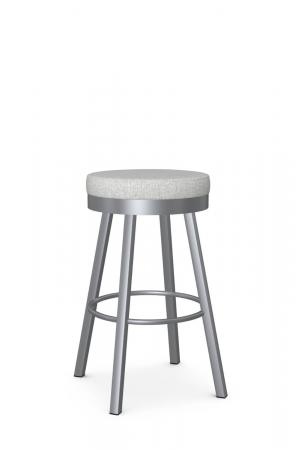 Amisco's Rudy Backless Silver Swivel Bar Stool with Gray Seat Fabric