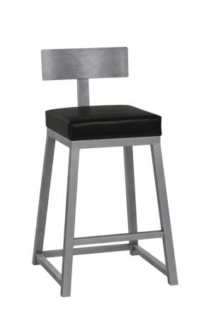 Wesley Allen's Pismo Modern Bar Stool with Back, Square Seat and Square Sled Base
