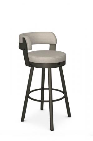 Amisco's Russell Industrial Brown Distressed Swivel Bar Stool with Curved Back