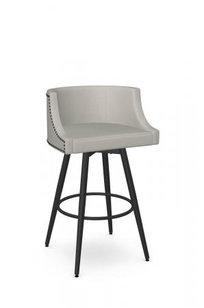 Amisco's Radcliff Upholstered Swivel Bar Stool with Low Back with Black Nailheads and Black Metal Finish and Gray Seat Cushion