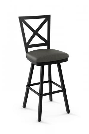 Amisco's Ken Swivel Metal Bar Stool with Cross Back Design and Square Seat Cushion