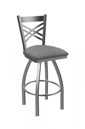 Holland Bar Stool's Catalina #820 Swivel Barstool with Back, in Stainless Steel metal finish and Gray fabric