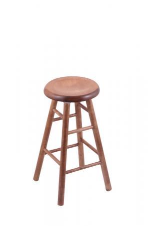 Holland's Saddle Dish Round Backless Swivel Stool with Smooth Legs in Maple Medium Wood Finish