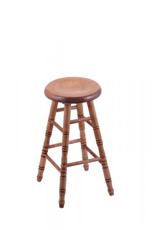 Holland's Saddle Dish Round Backless Swivel Stool with Turned Legs in Maple Medium Wood Finish