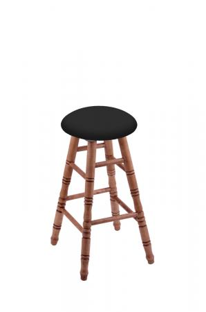 Holland's Round Cushion Backless Swivel Barstool with Turned Legs in Maple Medium Wood Finish and Black Seat Cushion