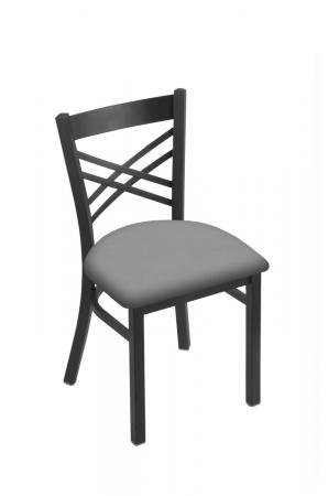 Holland's #620 Catalina Dining Chair in Pewter Metal Finish and Gray Seat Cushion