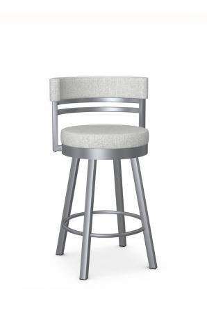 Amisco's Ronny Modern Silver and Gray Bar Stool with Low Back